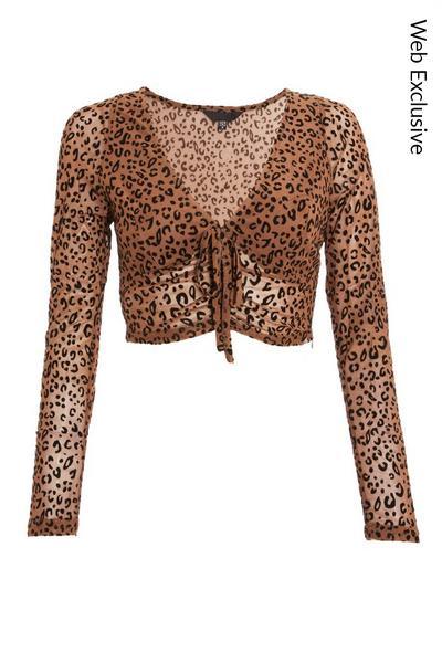 Brown Leopard Print Ruched Crop Top